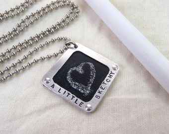 Chalkboard Necklace A Little Sketchy Real Chalkboard surface whimsical graduation gift