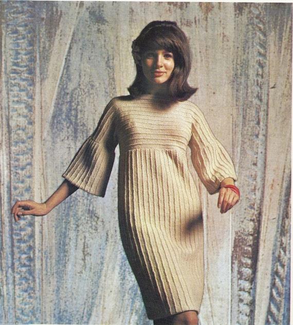 Sixties Vintage Knitting Pattern Knitted Dress by mBellishKnits