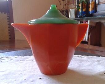Akro Agate child's orange toy tea pot green lid art deco vintage 40s -50s children's jadeite Halloween tea pot play party birthday gift