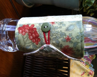 Bottle/Can Cozy (Water/Soda/Beer)  - Green/Red/Blue/Tan/Multicolor Floral Patchwork (Moda)