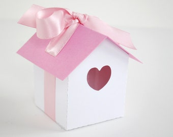Pink Heart House Favor Box Set of 12
