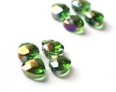 8pcs Emerald Green Colored Chinese Glass Briolettes, Heart Faceted Beads Top Drilled 10x9mm