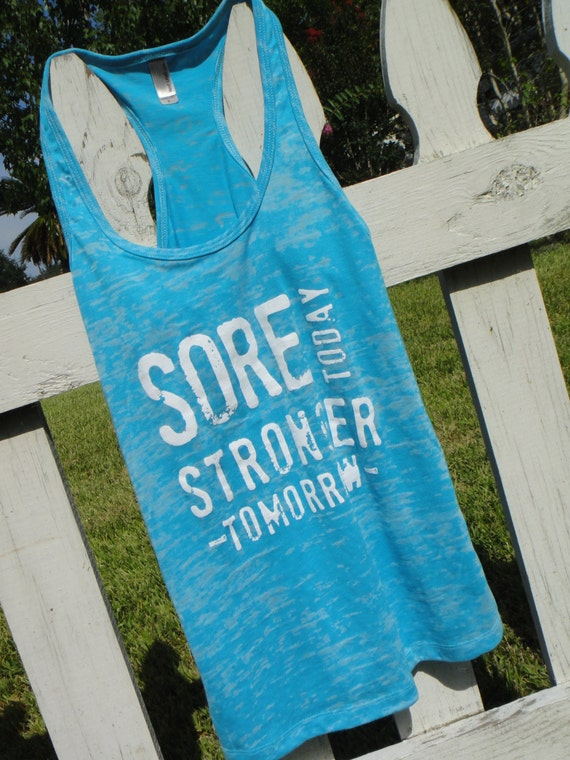 Racerback Burnout Tank. Tahiti Blue, XL