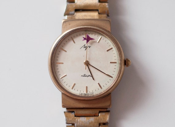 """Soviet watch Russian watch Quartz watch - RARE - with tiny plane on the seconds hand  - gold plated - wrist """"Luch"""" USSR"""