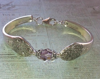 Vintage Silver Spoon Bracelet, Pattern name: Plantation, circa 1948, Repurposed, Upcycled, Silverplate Spoon and Fork Jewelry
