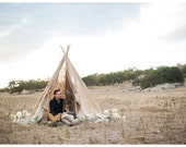 8 Foot Burlap and Lace TeePee // INCLUDES POLES