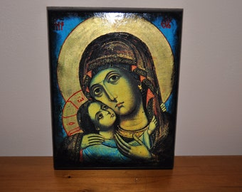 Virgin Mary with Christ Icon, Unique Religious Art and Gifts for Your Special Ones