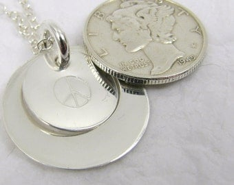 Fine Silver Design Pendant with Sterling Silver Chain, Peace Sign, Simple Silver, Mom necklace, Personalized Pendant