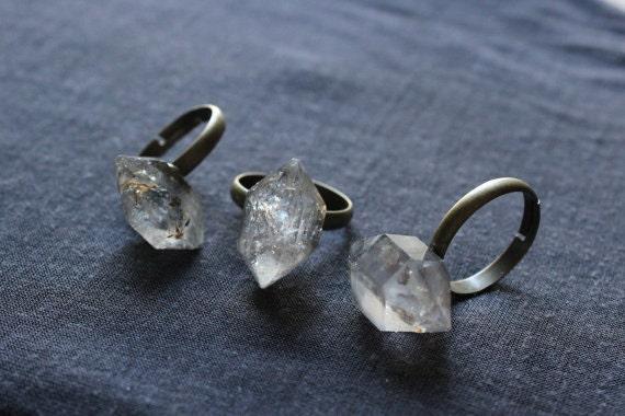 Raw Herkimer Diamond Ring Raw