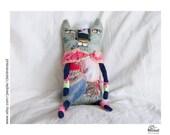 Clémentine - Poupée chat unique - Art textile