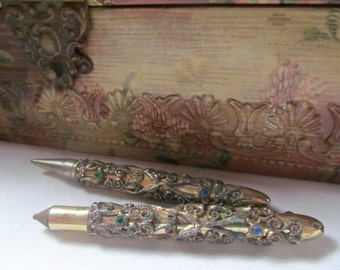 Art Deco Gold Jeweled and Filigree Pen and Pencil Set with Case Edwardian Womens Accessories Antique Pen set
