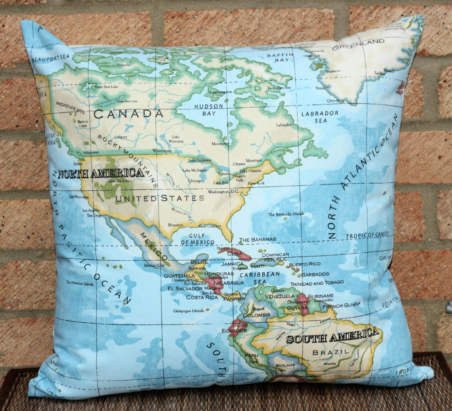 World Map Throw Pillow Cover 20 x 20 pillow by ThePurpleStitches