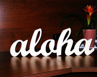 aloha handmade wood sign - wall decoration for vintage or modern decor