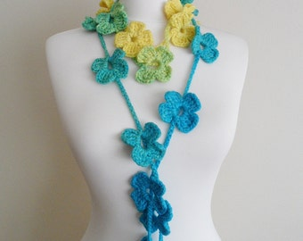 Crochet Lariat Scarf, Colorful Flower Scarf, Handmade, Necklace, Spring - Fall - Winter Fashion