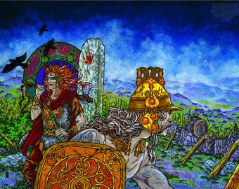 "Irish Art CÚ CHULAINN, The Hound of Ulster 33x23"".Celtic, Irish, Ireland, Fine Art Print, Wall Art, Warrior."