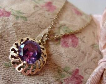 Vintage Necklace Purple Faux Amethyst