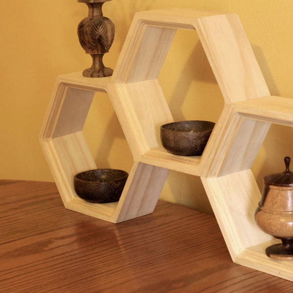 Honeycomb Shelving Unfinished Set Of Three By Haasehandcraft
