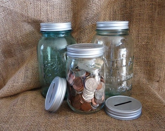 9 Coin Jar Lids, Mason Jar Piggy Bank, Mason Jar idea,