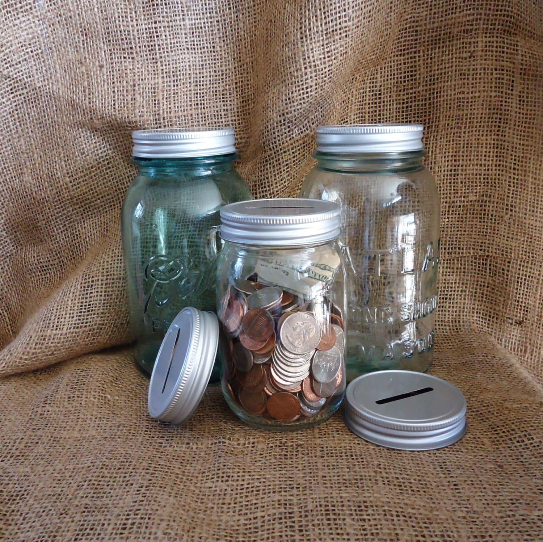 3 coin jar lids mason jar piggy bank mason jar idea coin for Mason jar piggy bank