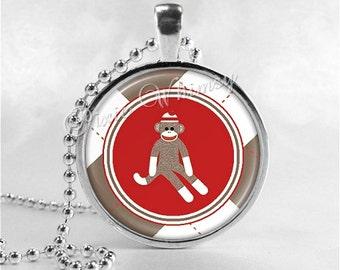 Sock Monkey Necklace Pendant Art Jewelry with Ball Chain, Sock Monkey Jewelry