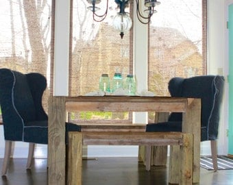 The Reclaimed Parsons- an indoor/outdoor parsons style table made from aged/reclaimed wood