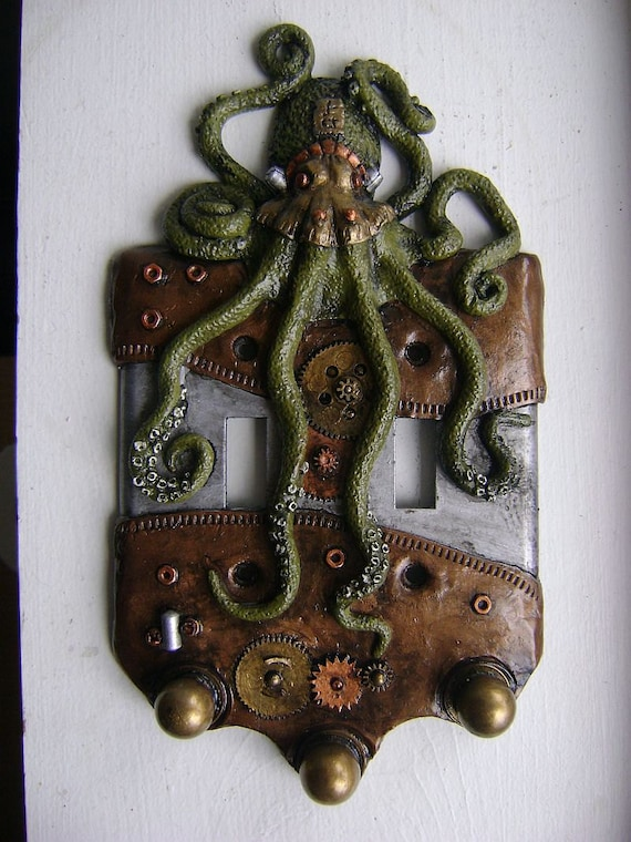 Car Light Bulbs >> Green Steampunk Octopus Double Light Switch by WainmanStudios