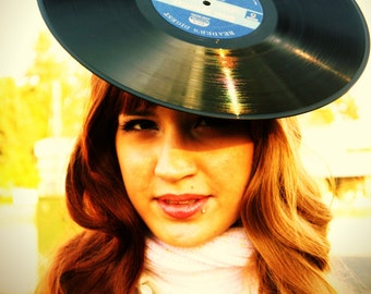 Upcycled  Vinyl Record Costume Headband Fascinator Hat Set
