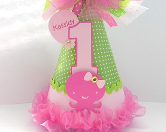 Pink Under the Sea Birthday Party Hat - Sea Animals - Octopus, Whale, Turtle -  Personalized