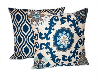 Navy and Cream Pillow Cover Set - Any Size - Decorative Pillow Covers Suzani