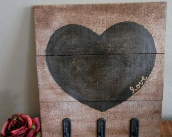 Primitive Heart Sign with Hooks