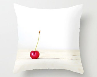 Cherry Red Pillow - Red Throw Pillow Case - Food Pillow Cover - Kitchen Pillow - Red White Pillow - 16x16 18x18 20x20 Pillow Cover