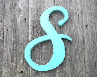 """Shabby chic Nursery decor Letter S Baby Girls Feminine 12"""" Letters Bright Aqua Green"""