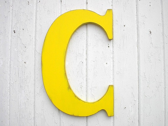 wooden letters c large 18 inch yellow nursery wall decor letter rustic w edding