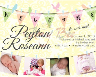 Printable Birth Announcement - clothesline banner with birds