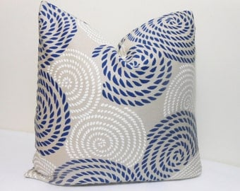 Navy Blue- White-Tan Outdoor/ Indoor Pillow Cover - Island Bay Sand Dune- Robert Allen -Large Scale Swirls -  Outdoor Fabric  -