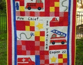 Fire engine Quilt, FIreman, FIre truck, EMT, Boy Crib Toddler Bedding, Emergency Vehicles, Ambulance, Hook & Ladder, Fire Extinguisher, Dog