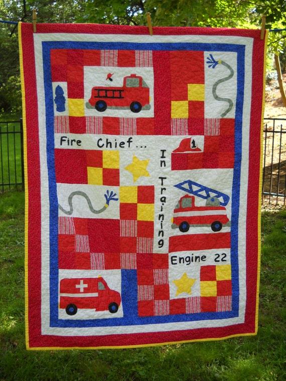 Fire engine Quilt FIreman FIre truck EMT Boy Crib Toddler