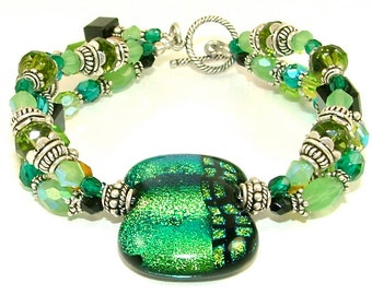 """MAJOR CLEARANCE - Lively """"Hues of Green"""" Triple Stranded Beaded Dichroic Fused Glass Statement Bracelet-OOAK"""