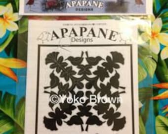 "Hawaiian quilt pattern ""Apapane on Lehua"" 20 inch x 20 inch"