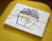 Blueberry Watercolor Notecard Set (with printed quote inside)