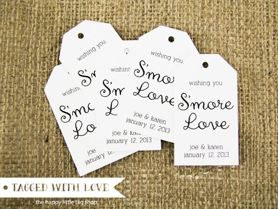 Wedding Favor Tag - MEDIUM Size - Smore Love - Custom Tag - 36 Pieces
