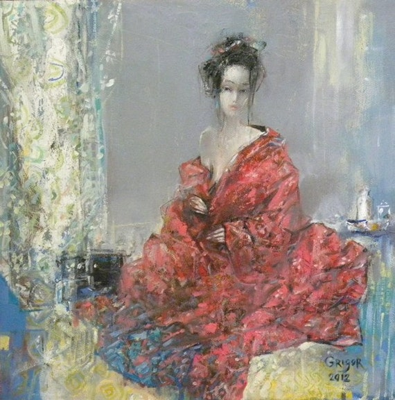 Original Oil Painting, Expressionistic Realism, Figurative, Nude, The Red Kimono, 12x12, oil on canvas, by Grigor Malinov