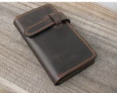 iPhone  leather wallet ,Multi-function leather card bag with iPhone 4 and iPhone5 case - Hand Stitched (Vintage brown)