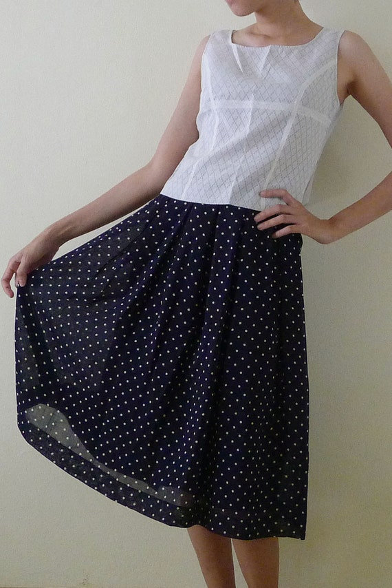 RESERVE FOR PAIEON vintage high waist navy polka dot sheer skirt with liner, a-line skirt, pleated skirt