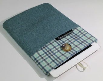 Teal Wool iPad Case , iPad Sleeve, iPad Cover, padded, blue green, plaid teal, front pocket, tablet case, android tablet cover, custom case