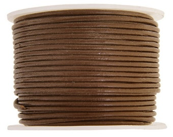 4 Yds 1.5mm Premium LT BROWN Leather Cord, Saddle Brown premium round leather cord, wrap bracelet cord, leather cord