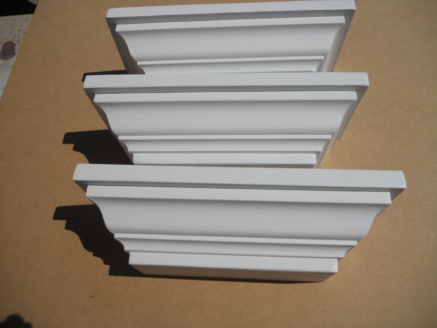 White Wall Shelves Crown Molding Shelf Set Of 3
