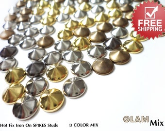 DIY Studs - 120 PCS 10 mm MIX of Gold Silver Antique Gold Spikes Studs Iron On, Hot Fix, or Glue On - Free Shipping