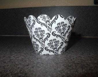 Damask Cupcake Wrapper   Wedding   Elegant  Black and White