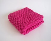 hand knit plushy cotton washcloth in hot pink